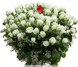 Mardin internetten çiçek satışı  100 adet beyaz 1 adet kirmizi gül buketi