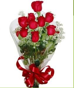 Mardin uluslararası çiçek gönderme  10 adet kırmızı gülden görsel buket