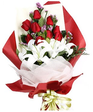 Mardin çiçekçiler  1 dal kazablankaa 9 adet kırmızı gül buketi