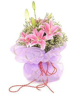 3 dal kazablanka görsel buketi  Mardin internetten çiçek satışı