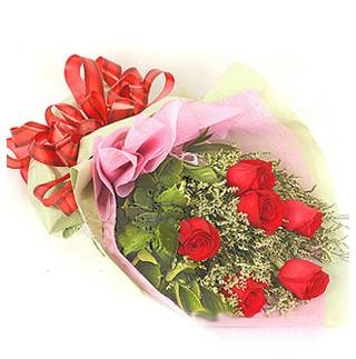 Mardin çiçek , çiçekçi , çiçekçilik  6 adet kırmızı gülden buket