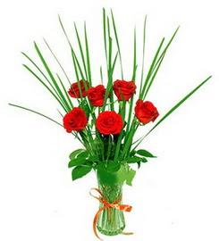 Mardin çiçek , çiçekçi , çiçekçilik  6 adet kırmızı güllerden vazo çiçeği