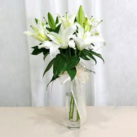 Mardin anneler günü çiçek yolla  2 dal kazablanka ile yapılmış vazo çiçeği