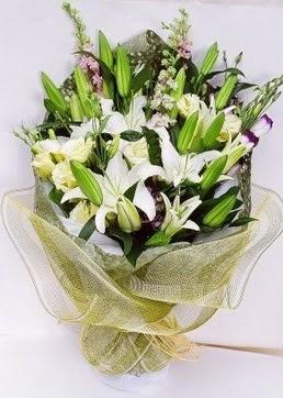 Mardin çiçek servisi , çiçekçi adresleri  3 adet kazablankalardan görsel buket çiçeği