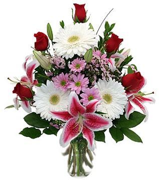 Mardin çiçek mağazası , çiçekçi adresleri  1 dal kazablanka 5 gül ve kırçiçeği vazosu