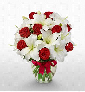 Mardin hediye çiçek yolla  1 dal kazablanka 11 adet kırmızı gül vazosu