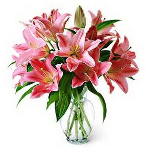3 dal kazablanka görsel vazosu  Mardin internetten çiçek siparişi