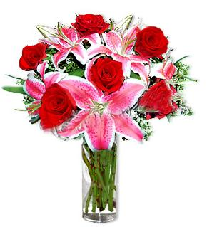 Mardin çiçek yolla  1 dal cazablanca ve 6 kırmızı gül çiçeği