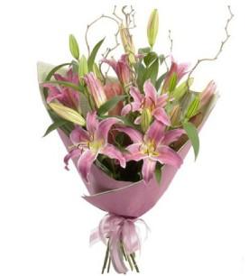 Mardin İnternetten çiçek siparişi  3 dal cazablanca buket çiçeği