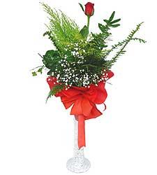 Mardin anneler günü çiçek yolla  Cam vazoda masum tek gül