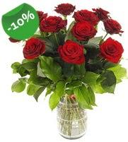 11 adet vazo içerisinde kırmızı gül  Mardin online çiçek gönderme sipariş