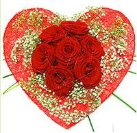 Mika kalp içerisinde 7 adet kırmızı gül  Mardin çiçekçi mağazası