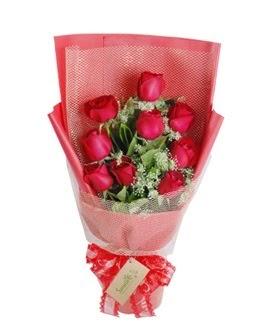 9 adet kırmızı gülden görsel buket  Mardin ucuz çiçek gönder