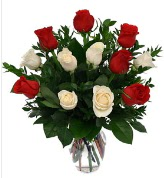 Vazo içerisinde 6 kırmızı 6 beyaz gül  Mardin hediye çiçek yolla