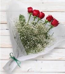 5 kırmızı gülden sade buket  Mardin çiçek yolla