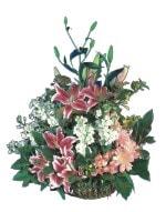 Mardin online çiçek gönderme sipariş  Pembe gerbera ve lilyum sepeti