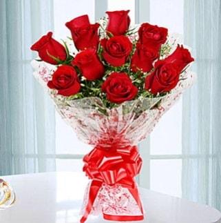 11 adet kırmızı gülden görsel şık buket  Mardin ucuz çiçek gönder
