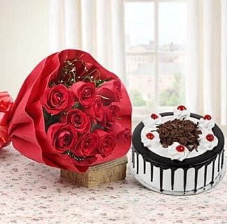 12 adet kırmızı gül 4 kişilik yaş pasta  Mardin çiçek , çiçekçi , çiçekçilik