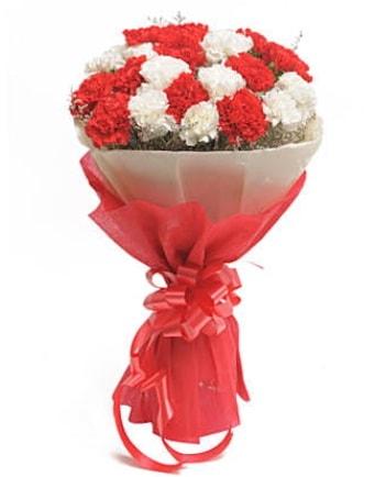 21 adet kırmızı beyaz karanfil buketi  Mardin çiçek satışı
