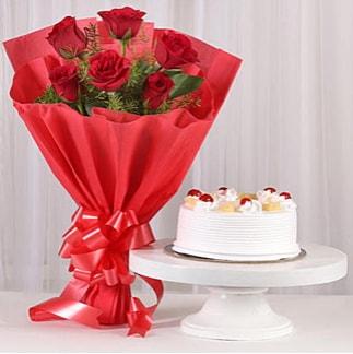 6 Kırmızı gül ve 4 kişilik yaş pasta  Mardin çiçek , çiçekçi , çiçekçilik