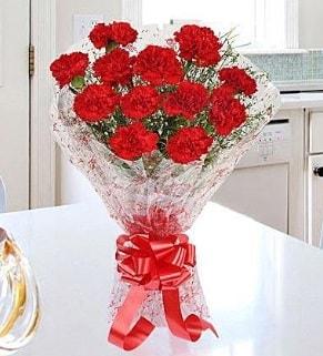 12 adet kırmızı karanfil buketi  Mardin İnternetten çiçek siparişi