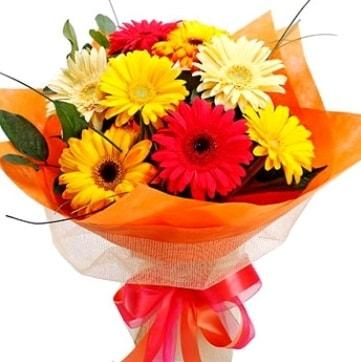 9 adet karışık gerbera buketi  Mardin çiçek , çiçekçi , çiçekçilik