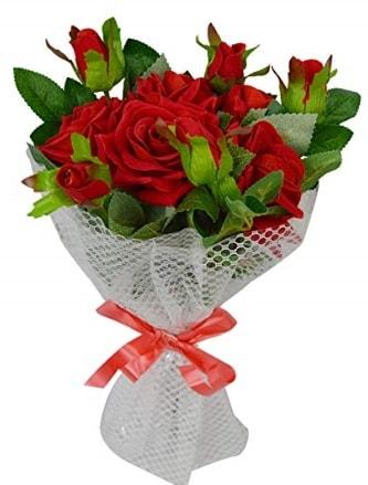 9 adet kırmızı gülden sade şık buket  Mardin çiçekçi telefonları