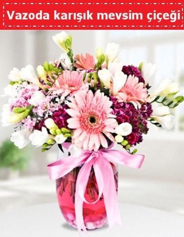 Vazoda karışık mevsim çiçeği  Mardin çiçek , çiçekçi , çiçekçilik