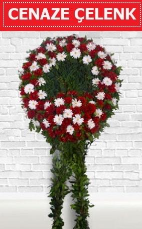 Kırmızı Beyaz Çelenk Cenaze çiçeği  Mardin İnternetten çiçek siparişi
