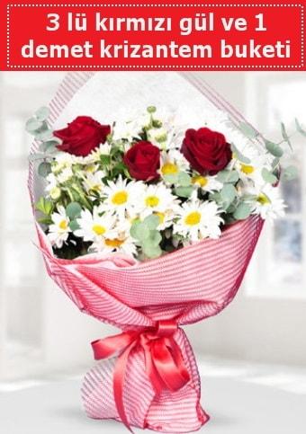 3 adet kırmızı gül ve krizantem buketi  Mardin çiçek gönderme sitemiz güvenlidir