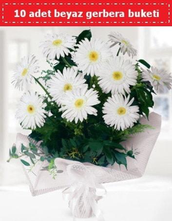 10 Adet beyaz gerbera buketi  Mardin çiçek , çiçekçi , çiçekçilik