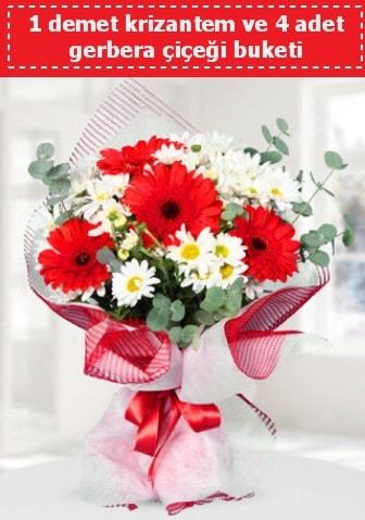 Krizantem ve Gerbera Buketi  Mardin çiçek siparişi sitesi
