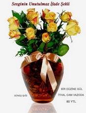 Mardin internetten çiçek satışı  mika yada Cam vazoda 12 adet sari gül